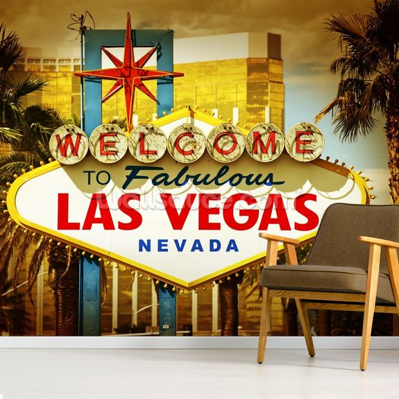 Las Vegas Welcome Wallpaper Mural Wallsauce Us