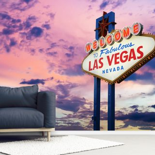Welcome to Las Vegas Sign at Sunset Wallpaper Wall Murals