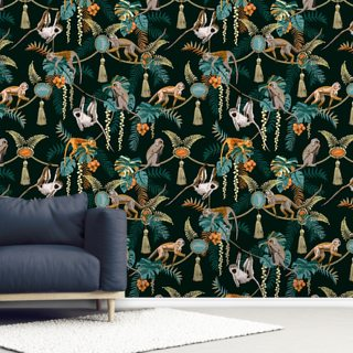 Green Monkey Puzzle Wallpaper Wall Murals