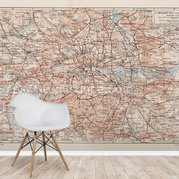 Map of London wallpaper mural room setting