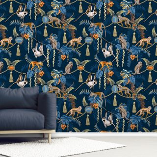 Blue Monkey Puzzle Wallpaper Wall Murals