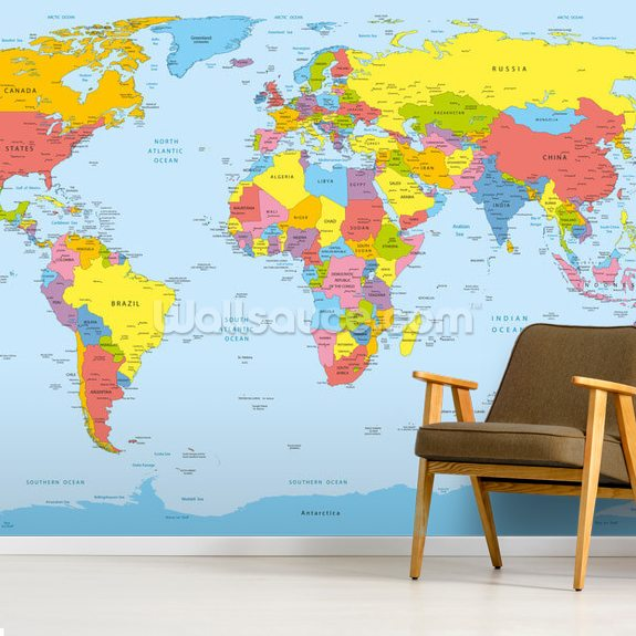 Colourful World Map mural wallpaper room setting