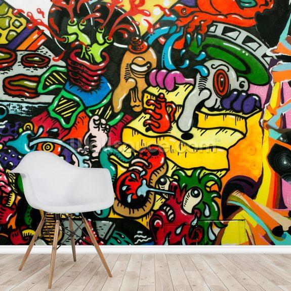 Graffiti Art Wall Mural Room Setting