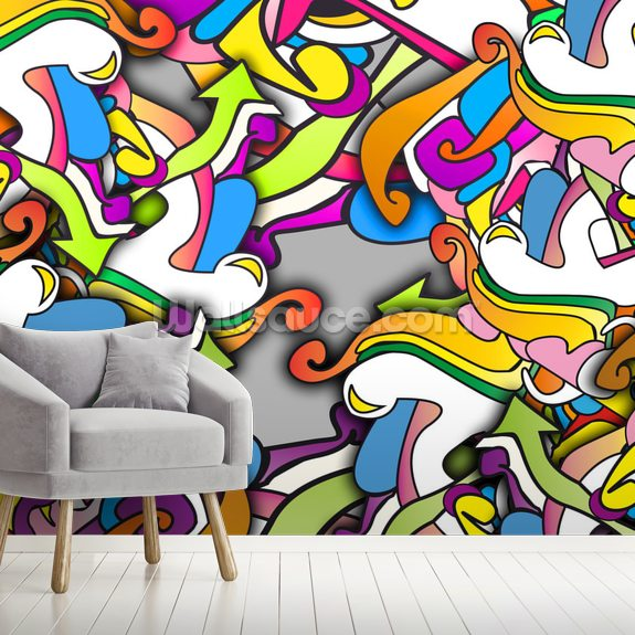Graffiti - Zany wall mural room setting