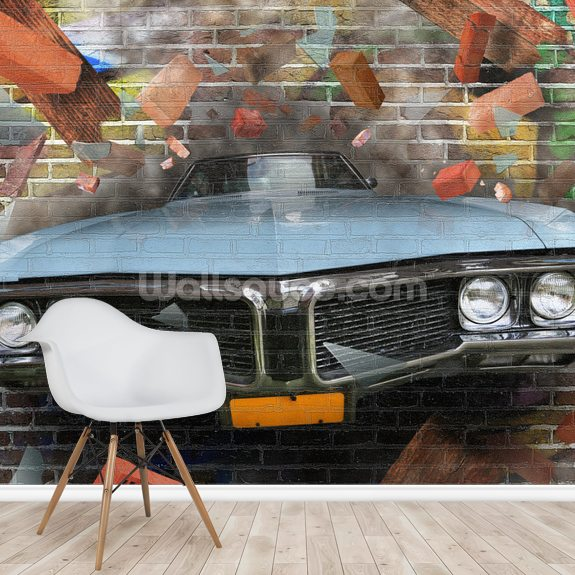 Graffiti - Car Smash wallpaper mural room setting