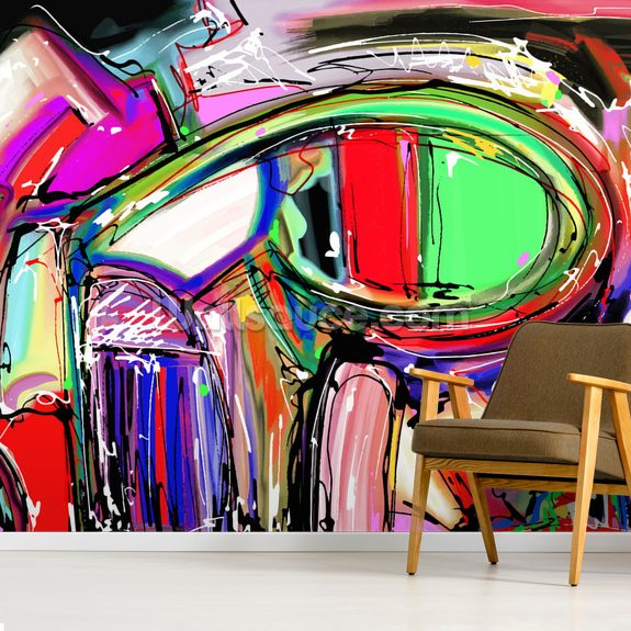 Graffiti - Digitised mural wallpaper room setting