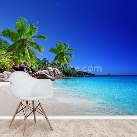 Seychelles Beach: Beach At Praslin Island, Seychelles Wallpaper Mural