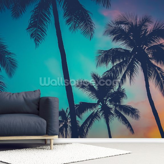 Hawaii Palm Trees At Sunset wall mural room setting