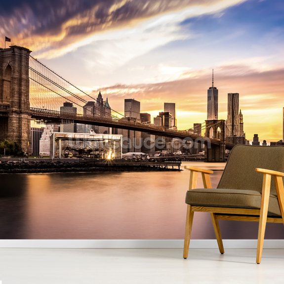 Brooklyn Bridge at Dusk wall mural room setting