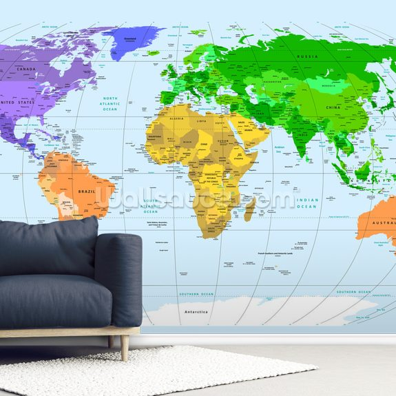 Vibrant World Map wall mural room setting