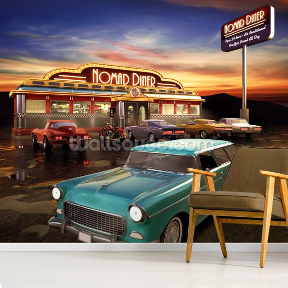 american diner wallpaper mural wallsauce uk. Black Bedroom Furniture Sets. Home Design Ideas