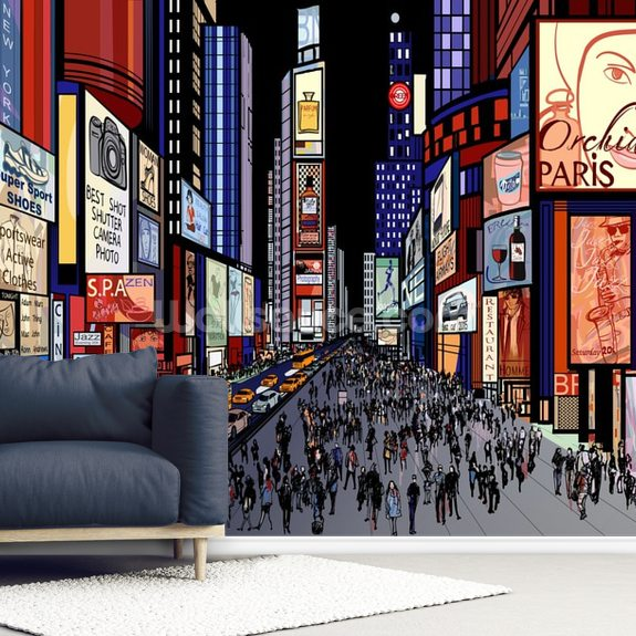 New York - Night View of Times Square wallpaper mural room setting