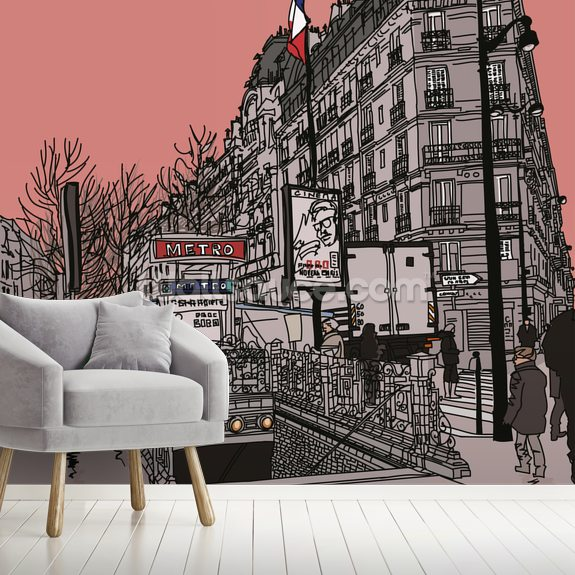 Paris Metro Station Retro wallpaper mural room setting