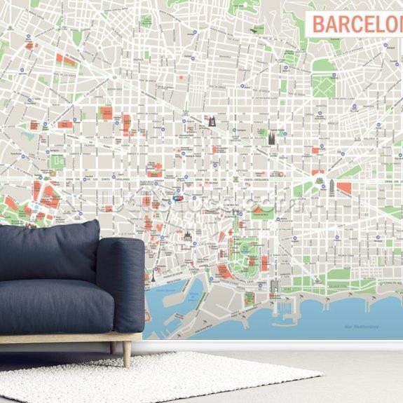 Kartta Barcelonan Taustakuvamaalaus Wallsauce Fi