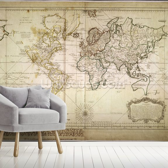 Historic World Map wall mural room setting