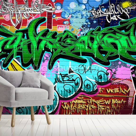 Graffiti Art Urban Green wallpaper mural room setting