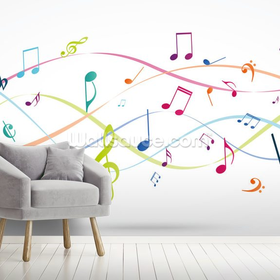 Colorful Music Notes wallpaper mural room setting