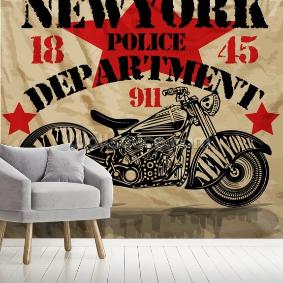 Motorcycle PD mural wallpaper room setting