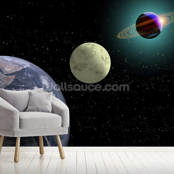 Earth Moon And Saturn wall mural room setting