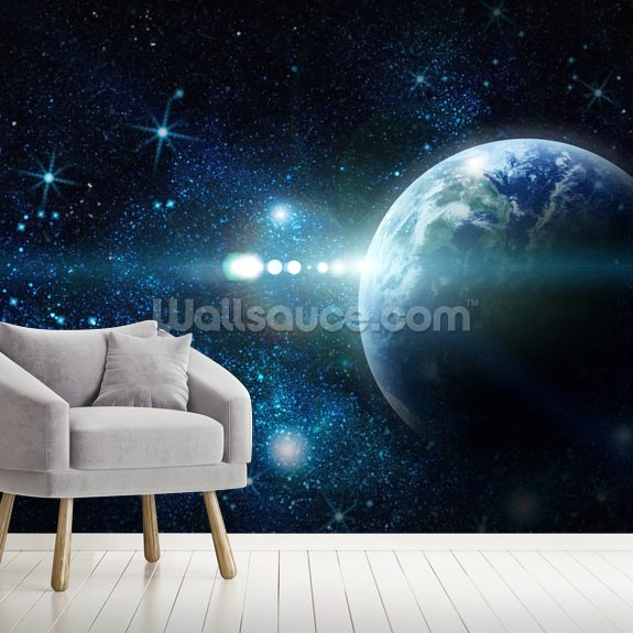Realistic Planet Earth in Space wallpaper mural room setting