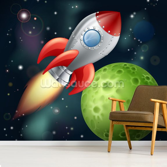 Cartoon Rocket wall mural room setting