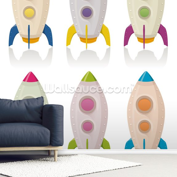 Retro Rocketship Set mural wallpaper room setting