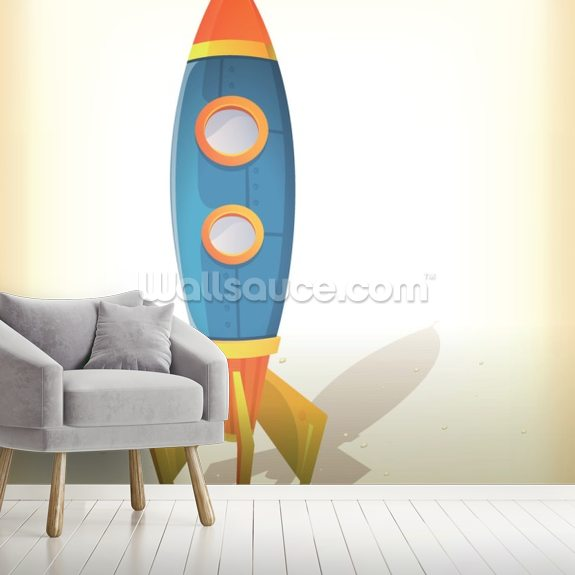 Retro Spaceship Landing wall mural room setting