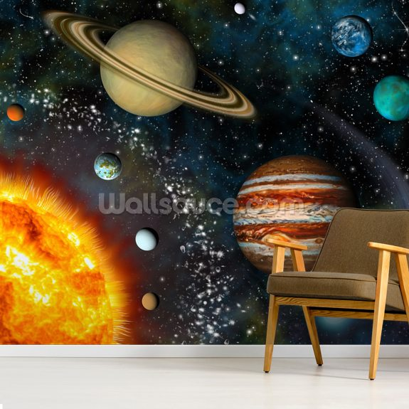 3D Solar System mural wallpaper room setting