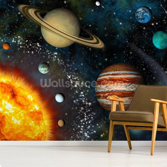 3D Solar System Mural Wallpaper Room Setting
