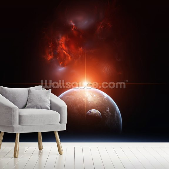 Earth, Planets and Red Nebula wallpaper mural room setting