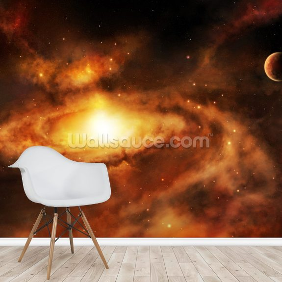 Spiral Galaxy Nebula wallpaper mural room setting