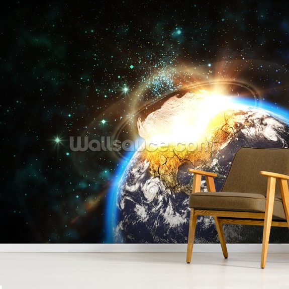 Asteroid Impact from Space wallpaper mural room setting