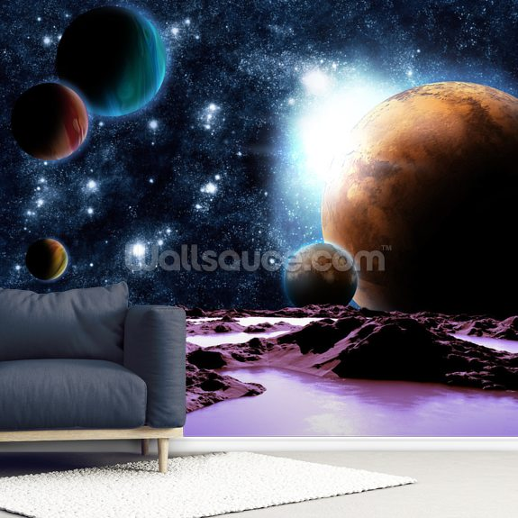 Abstract Planets with Water mural wallpaper room setting