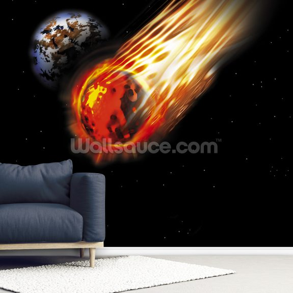 Asteroid wall mural room setting