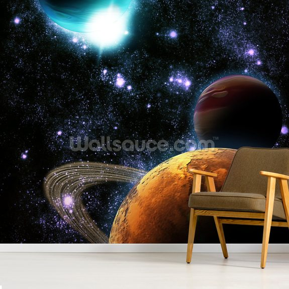 Abstract Planets with Star Nebula mural wallpaper room setting