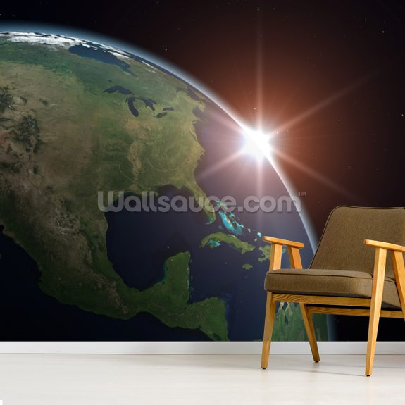 North America from Space wall mural room setting