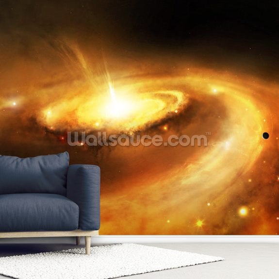 Galaxy Core in Space mural wallpaper room setting