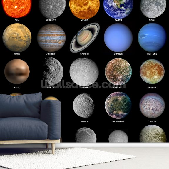 The Solar System wall mural room setting