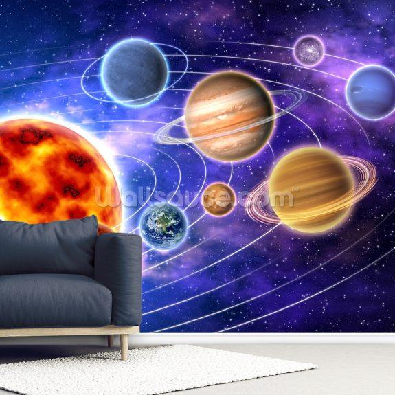 Solar System Wallpaper Mural Room Setting