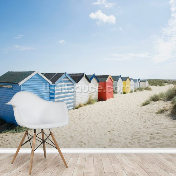 Brightly Coloured Beach Huts mural wallpaper room setting