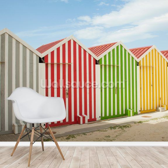Striped Beach Huts wallpaper mural room setting