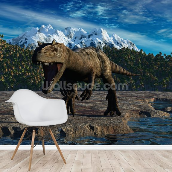 Allosaurus wallpaper mural room setting