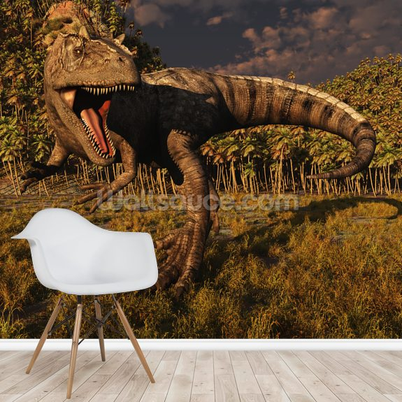 Allosaurus Hunts mural wallpaper room setting