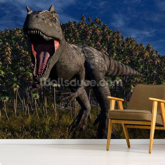 Allosaurus Aggression wall mural room setting