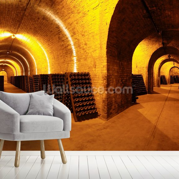 Wine Cellar Tunnels wallpaper mural room setting