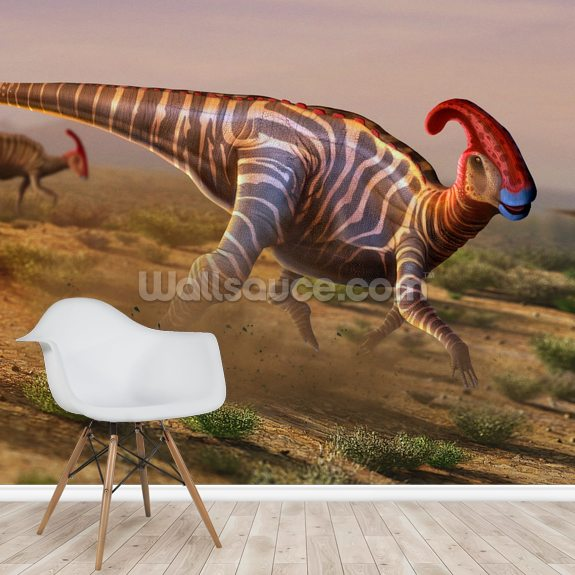 Parasaurolophus wallpaper mural room setting