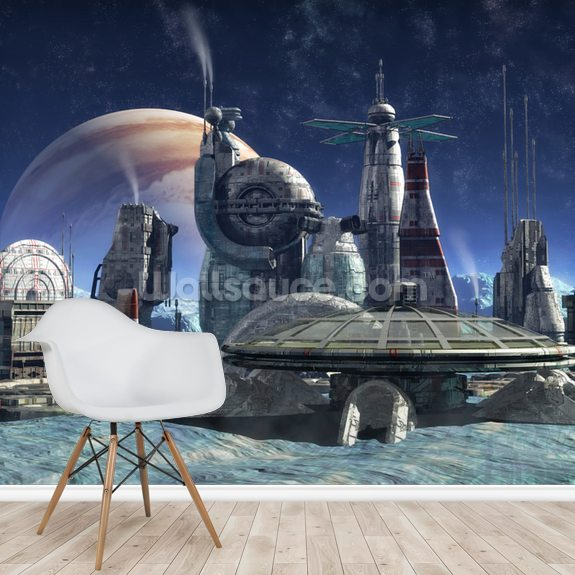 Jupiter Moon Station mural wallpaper room setting