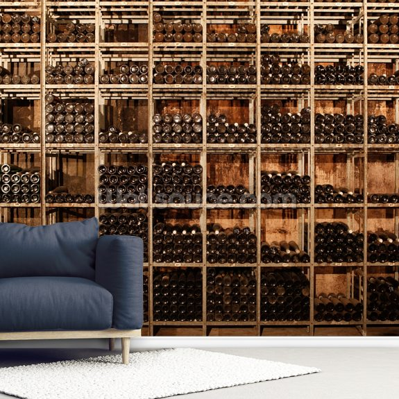 Wine Racks mural wallpaper room setting