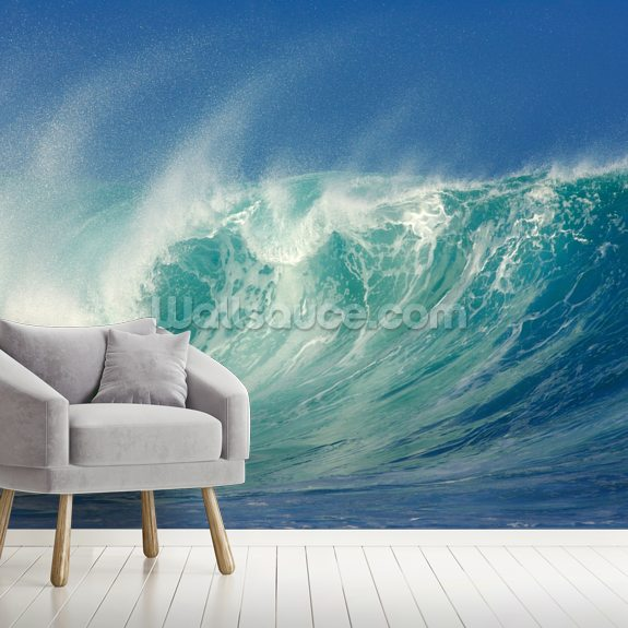 Big Waves, North Shore, Hawaii mural wallpaper room setting