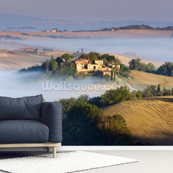 Misty Tuscany Morning mural wallpaper room setting